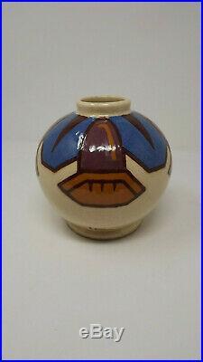 Vase craquelé de Simone Larrieu ceramique annees 50 style art deco fleurs datura
