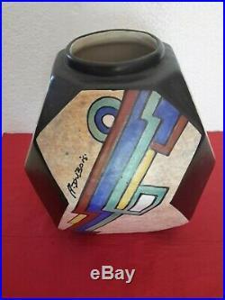 Vase en céramique Art Déco signé par A. Dubois n° série 648 mex D 77
