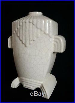 Vase en céramique craquelée 1930 Art Déco