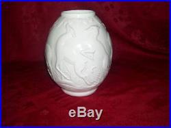 Vase en céramique faience boch fréres la louvière ep art déco decor 6 biches