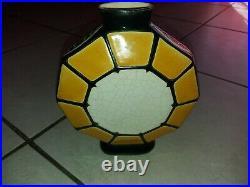 Vase gourde décagonale céramique emaux de longwy art deco