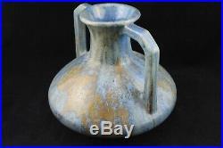Vase grès PIERREFONDS 19cm art déco émaux cristallins bleus céramique FH