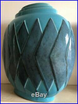 Vase ovoïde à voiles bleues VANDER et Kaza France