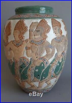 Vietnam Vase Thanh Le céramique Art Déco danseurs khmers Bien Hoa Indochine Asie