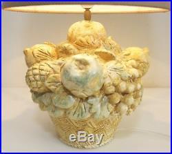 Vintage Lampe de Table Panier Fruits Céramique Italie Écran Pied Verre Led