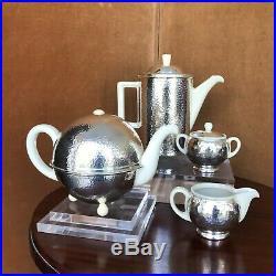Wmf, service à Thé /café, métal Argenté Et Céramique, Art Déco, xx°